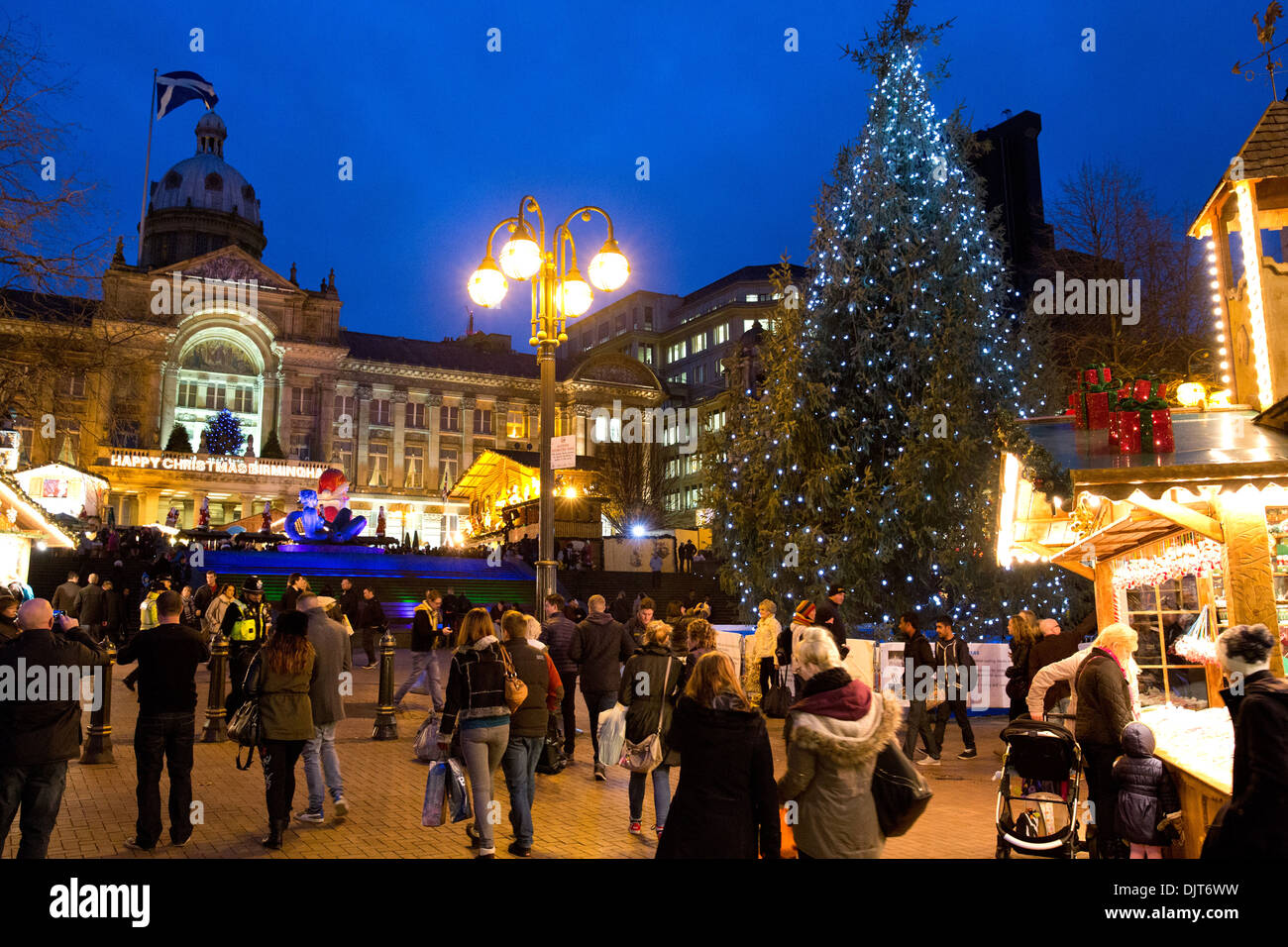 stock photo the birmingham frankfurt german market the christmas tree in victoria square overlooked by the council house - Christmas Tree Market
