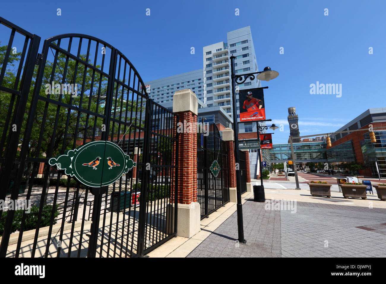 Entrance To Oriole Park Home Of Baltimore Orioles Hilton Hotel And Bromo Seltzer Tower In Background USA