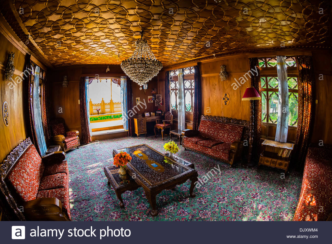 Interior View, New Golden Hind, A Luxury Houseboat On Dal Lake, Srinagar,  Kashmir, Jammu And Kashmir State; India