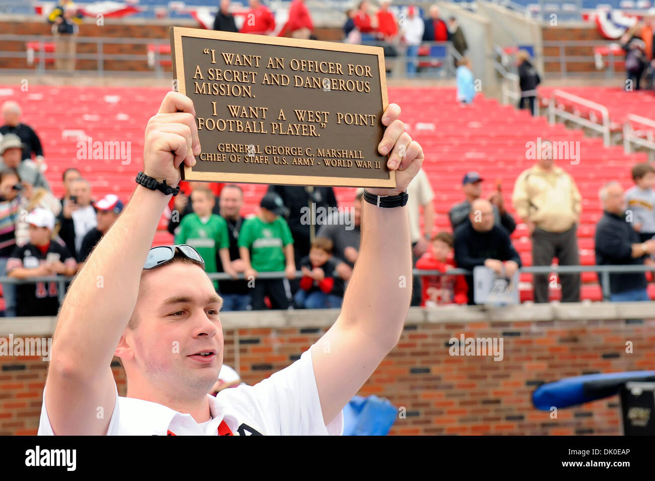 General George C Marshall Quotes - 30 2010 dallas texas u s west point football players slap the plate which contains a quote from general george c marshall while exiting the field