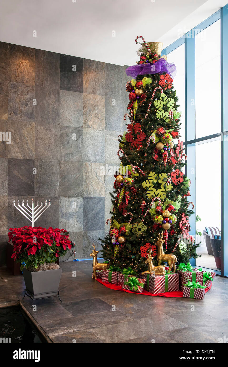 Hanukkah ornaments for a tree - Christmas And Hanukkah Decorations Lobby Of River House Condominiums Along New River In Downtown Fort Lauderdale Florida Usa