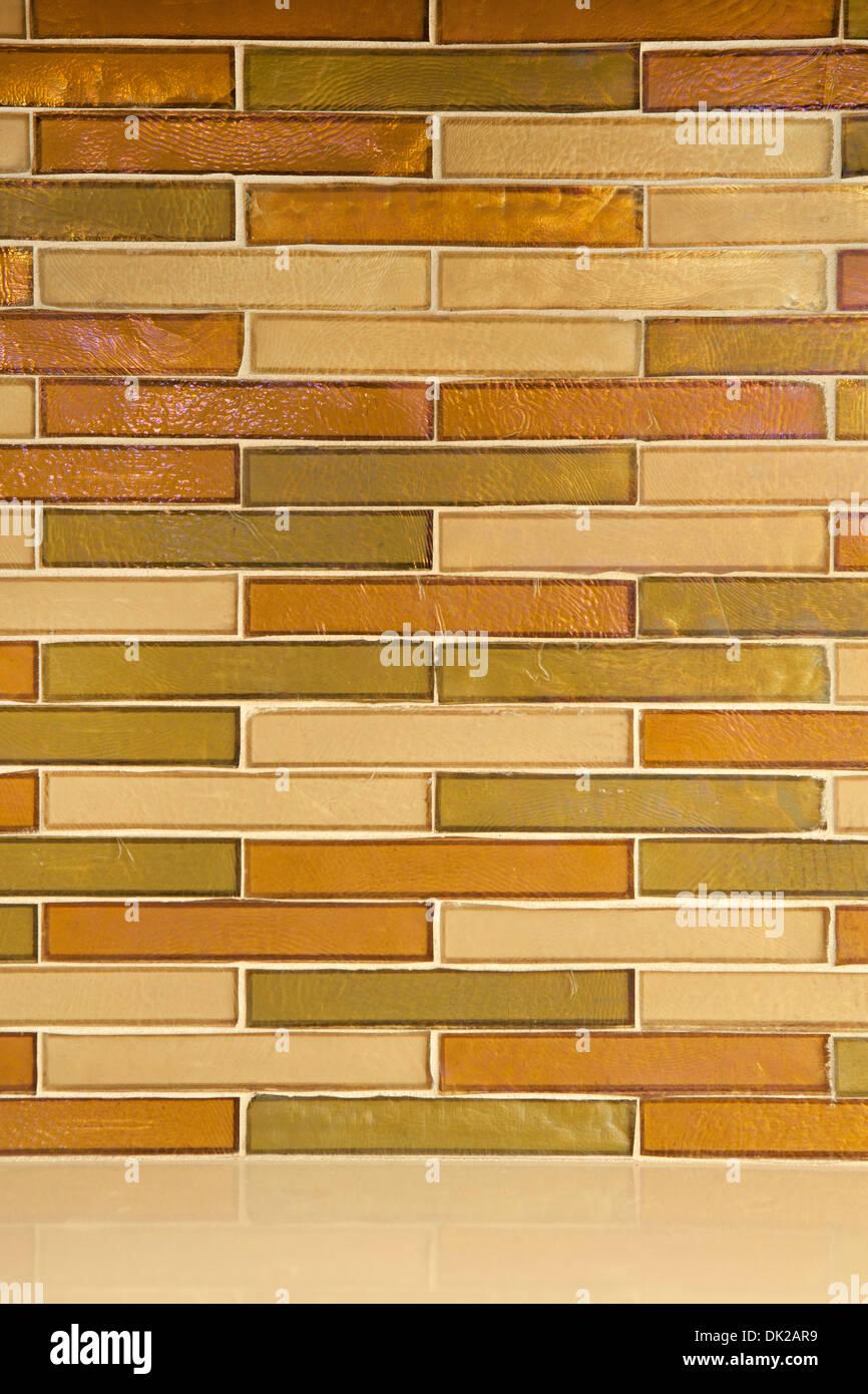 Yellow subway tile backsplash