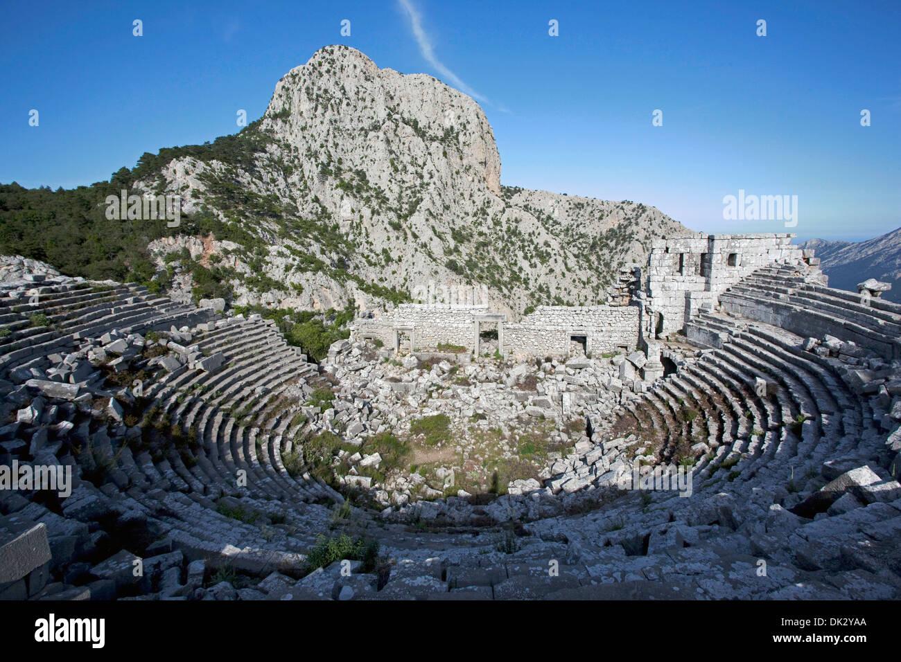 Termessos ancient city amphitheatre, Antalya Turkey Stock ...
