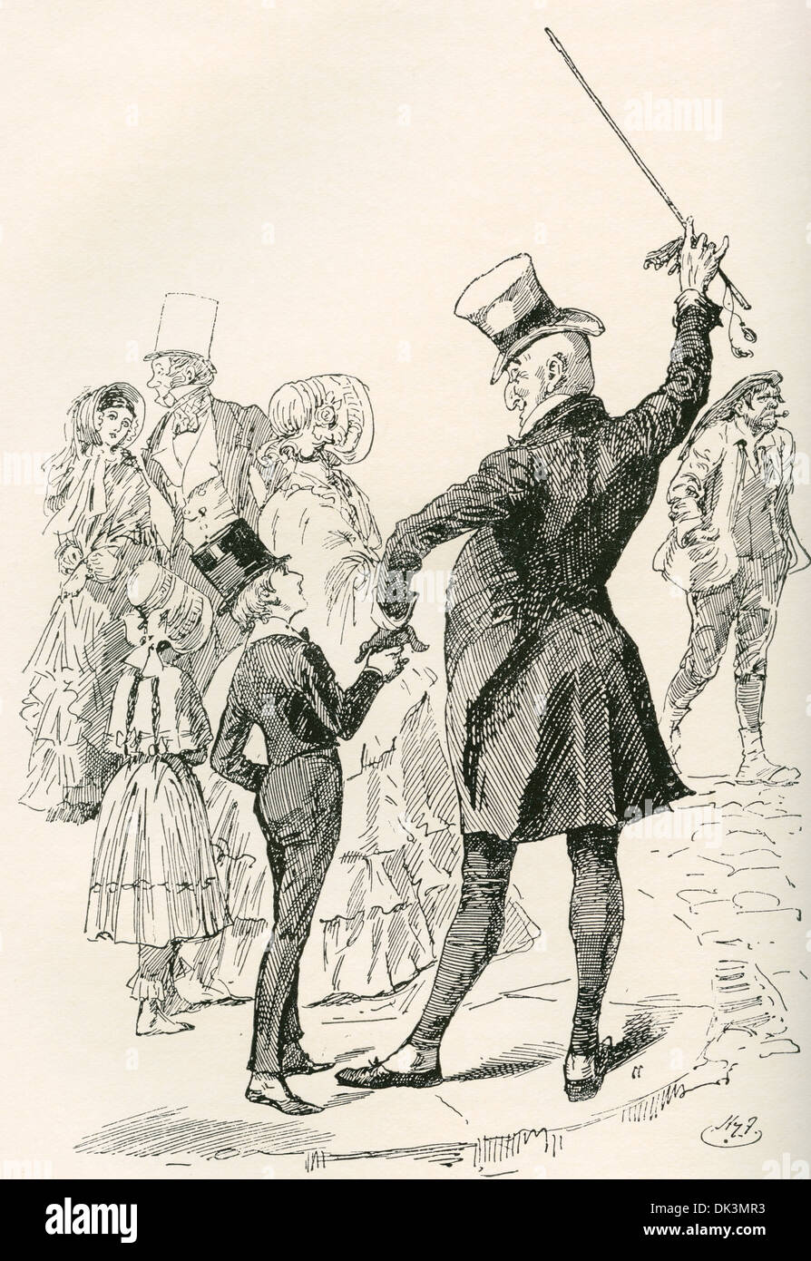 character charles john huffam dickens david copperfield stock  mr micawber takes david home illustration by harry furniss for the charles dickens novel