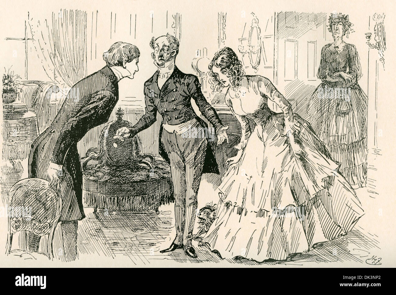 character charles john huffam dickens david copperfield stock  david meets dora and miss murdstone illustration by harry furniss for the charles dickens novel