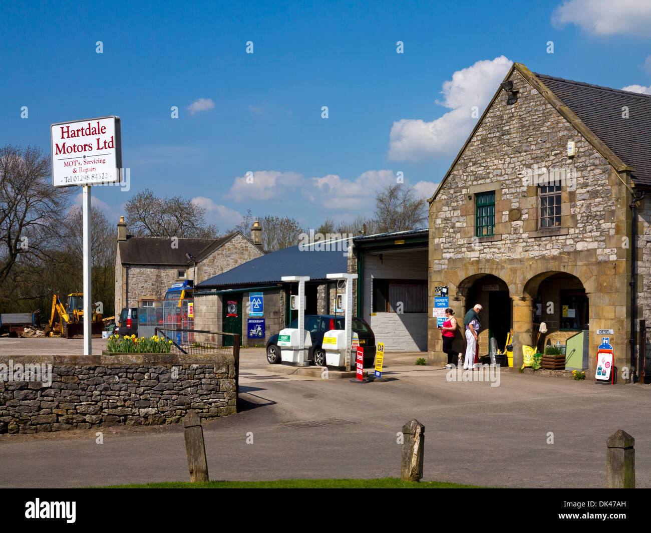 Rural Petrol Station In Hartington A Village The Peak District National Park Derbyshire Dales England UK
