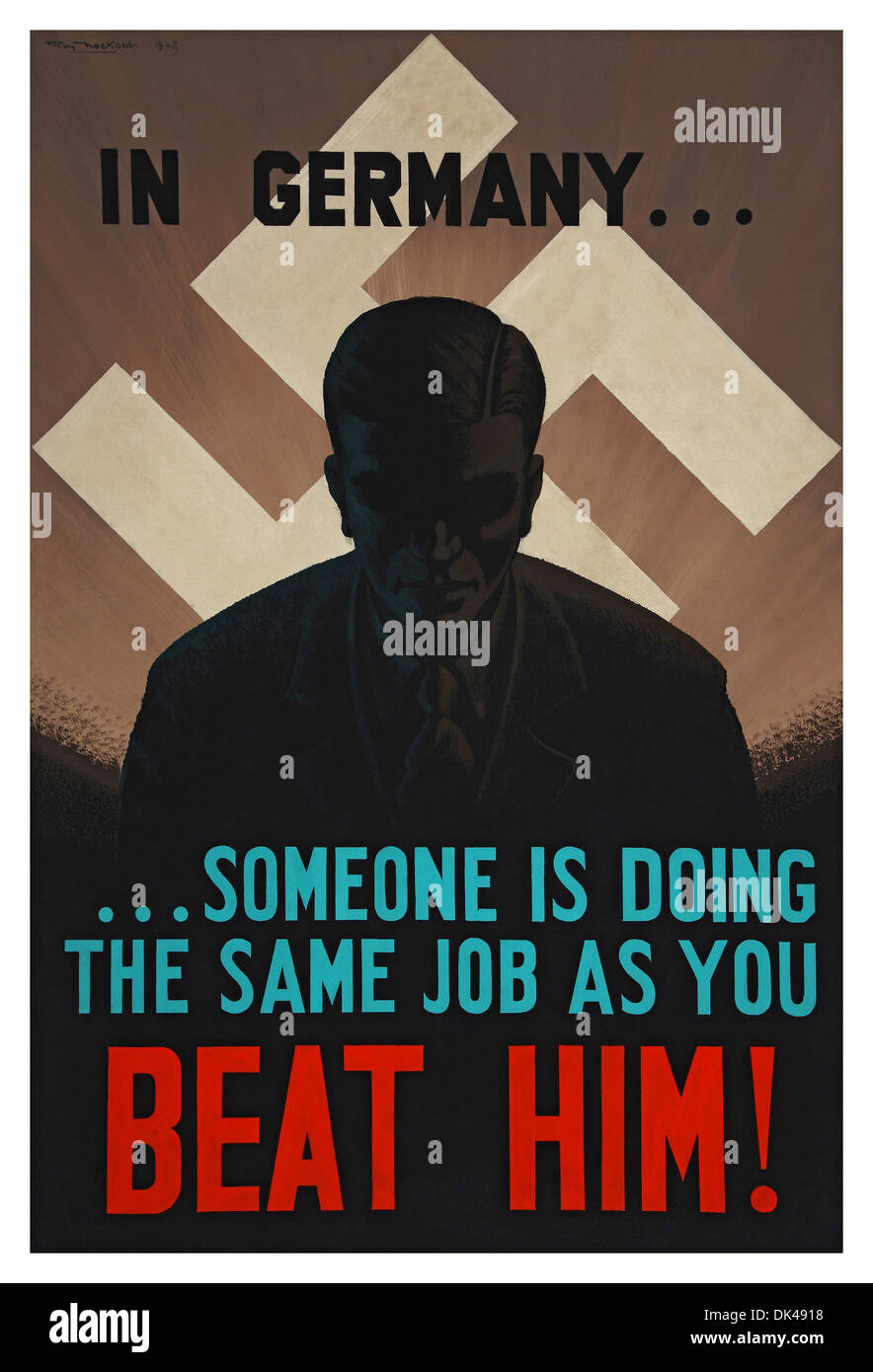Ww2 propaganda poster with swastika symbol of the nazi party stock ww2 propaganda poster with swastika symbol of the nazi party promoting hard work at home in the uk biocorpaavc Images