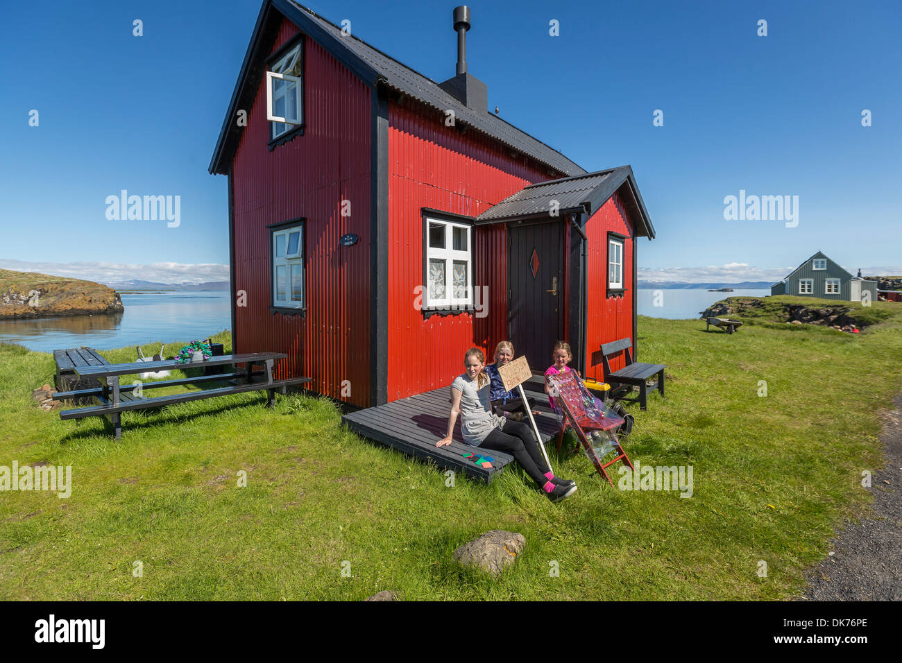 Crafts for young girls - Stock Photo Young Girls Selling Hand Crafts To Tourist Flatey Island Breidafjordur Iceland