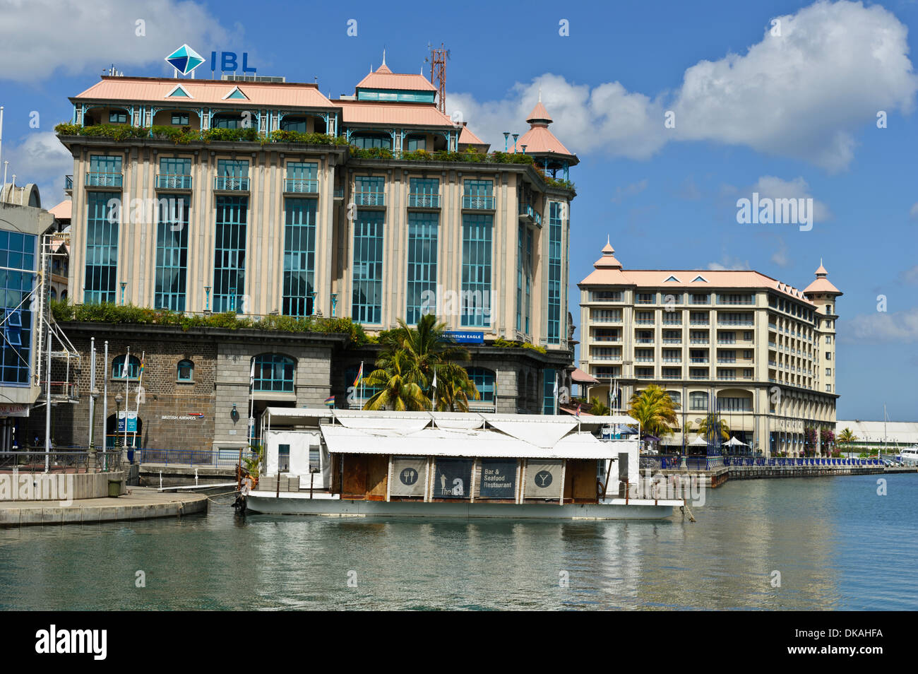 Caudan waterfront with restaurants bars the ibl building and stock photo 63542846 alamy - Restaurants in port louis mauritius ...
