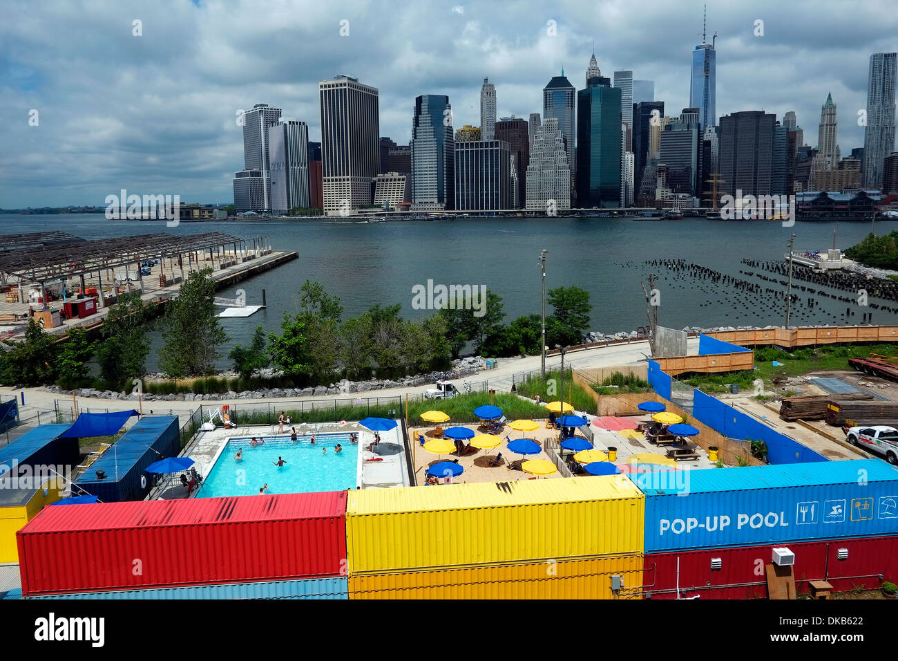 a pop up outdoor swimming pool in brooklyn heights new york with a stock photo 63555802 alamy