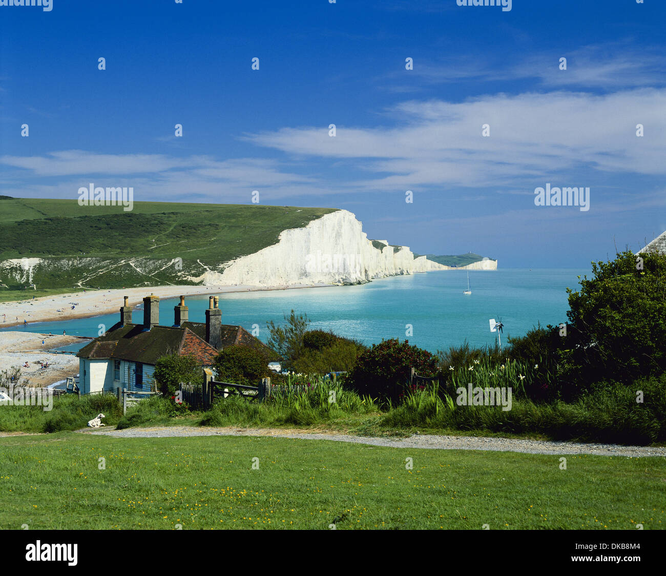 coastguard cottages and seven sisters coastline east sussex from