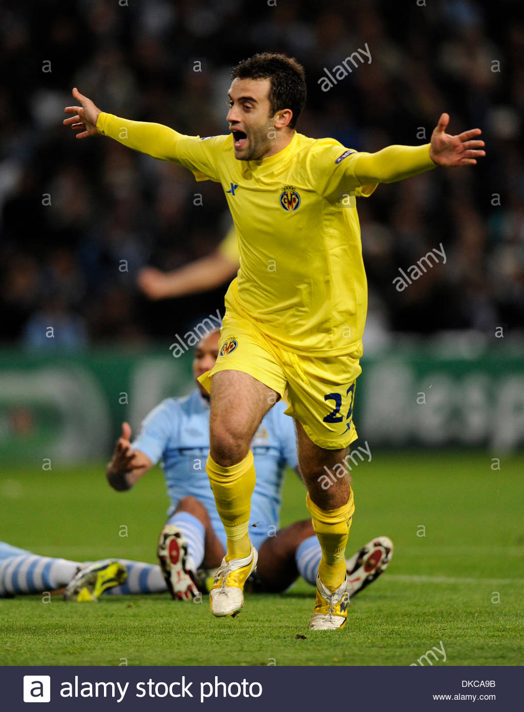 Giuseppe Rossi of Villarreal celebrates the first goal UEFA Stock