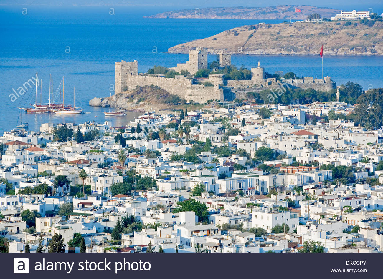 St Peters Castle and Bodrum, elevated view, Bodrum, Turkey, Asia Stock P...