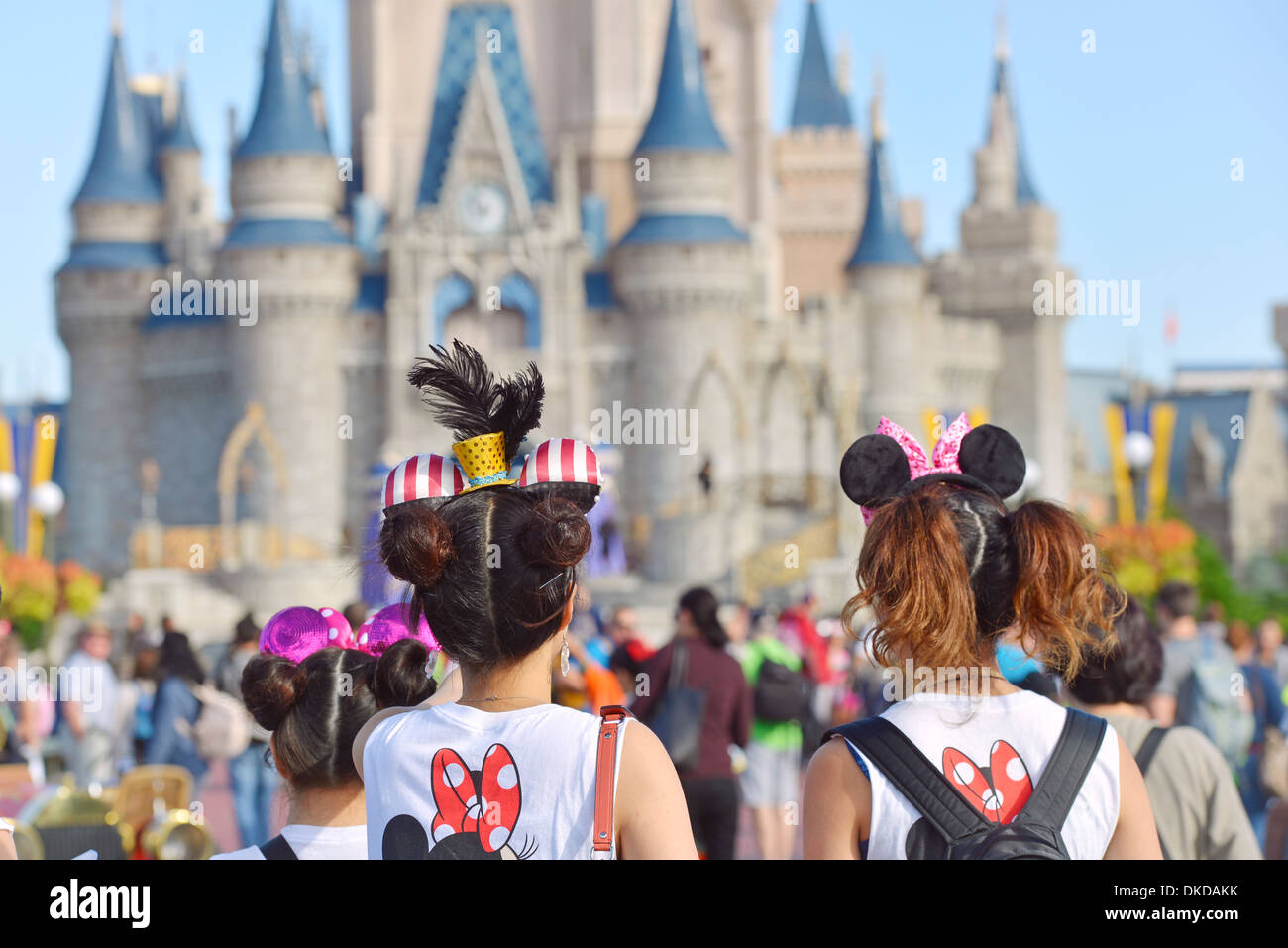 Wearing Mickey Mouse Ears Walking Towards Cinderella