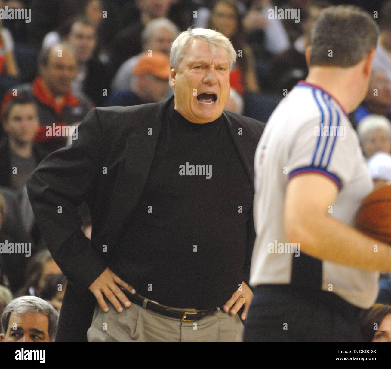Golden State Warriors Head Coach Don Nelson barks at the referee