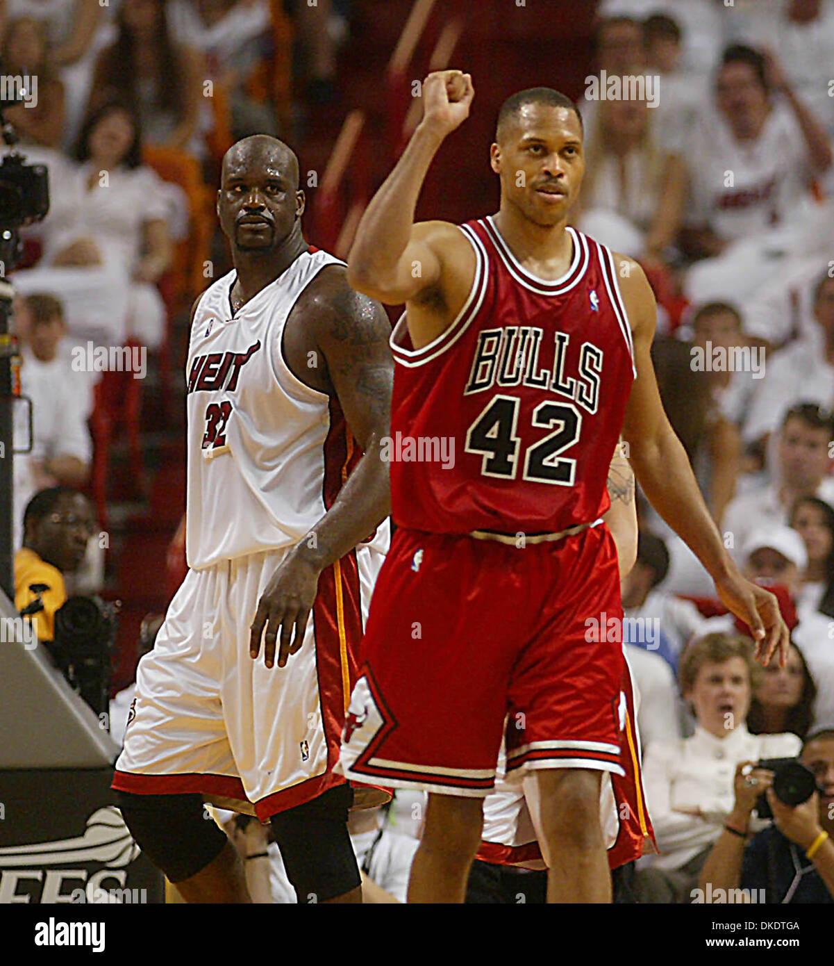 Apr 29 2007 Miami FL USA The Bulls P J BROWN celebrates