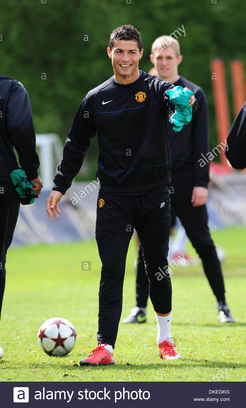cristiano ronaldo of manchester united enjoys training before the stock photo royalty free. Black Bedroom Furniture Sets. Home Design Ideas