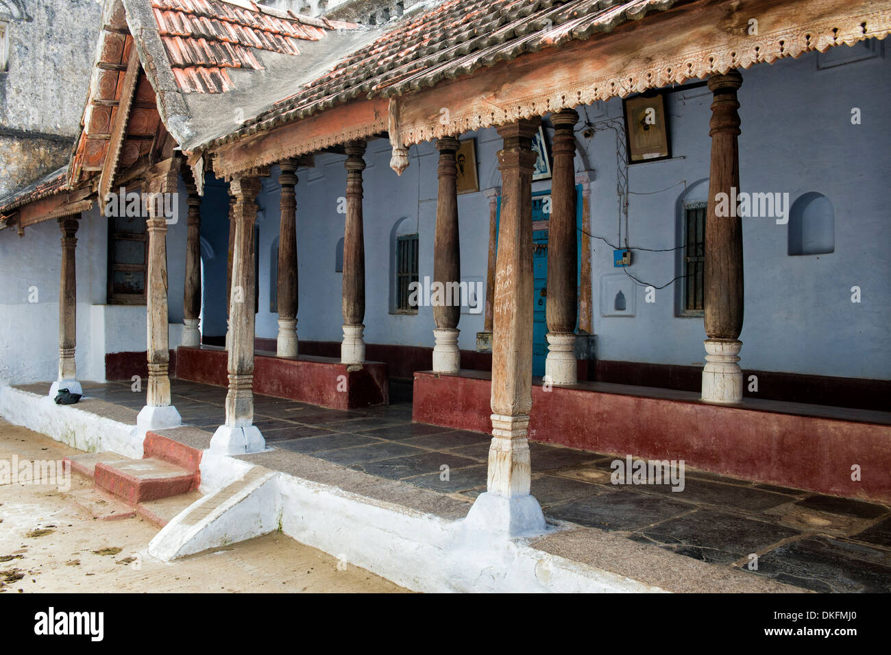 Traditional south indian house with large wooden pillared for Indian house image