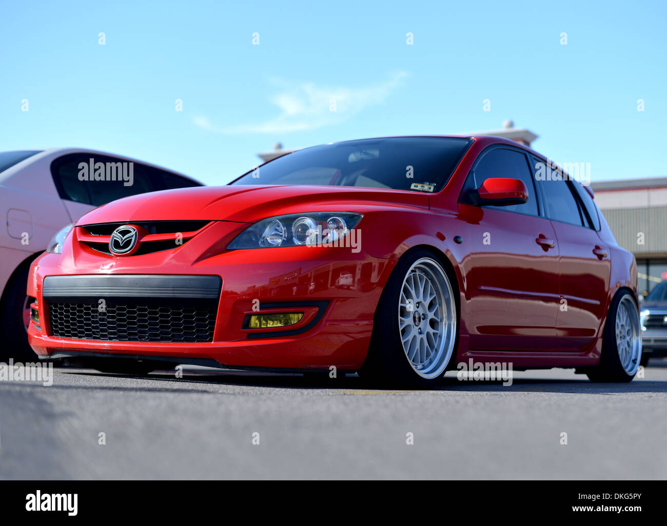 Heavily Lowered Mazda 3 Car Modified On Large Alloy