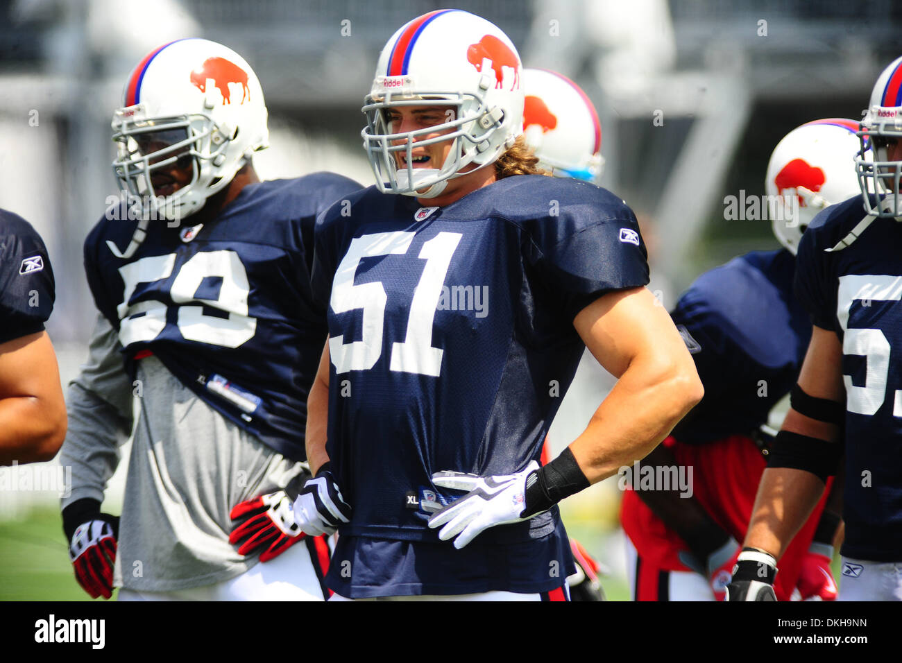 Buffalo Bills linebacker Paul Posluszny waits on the offense
