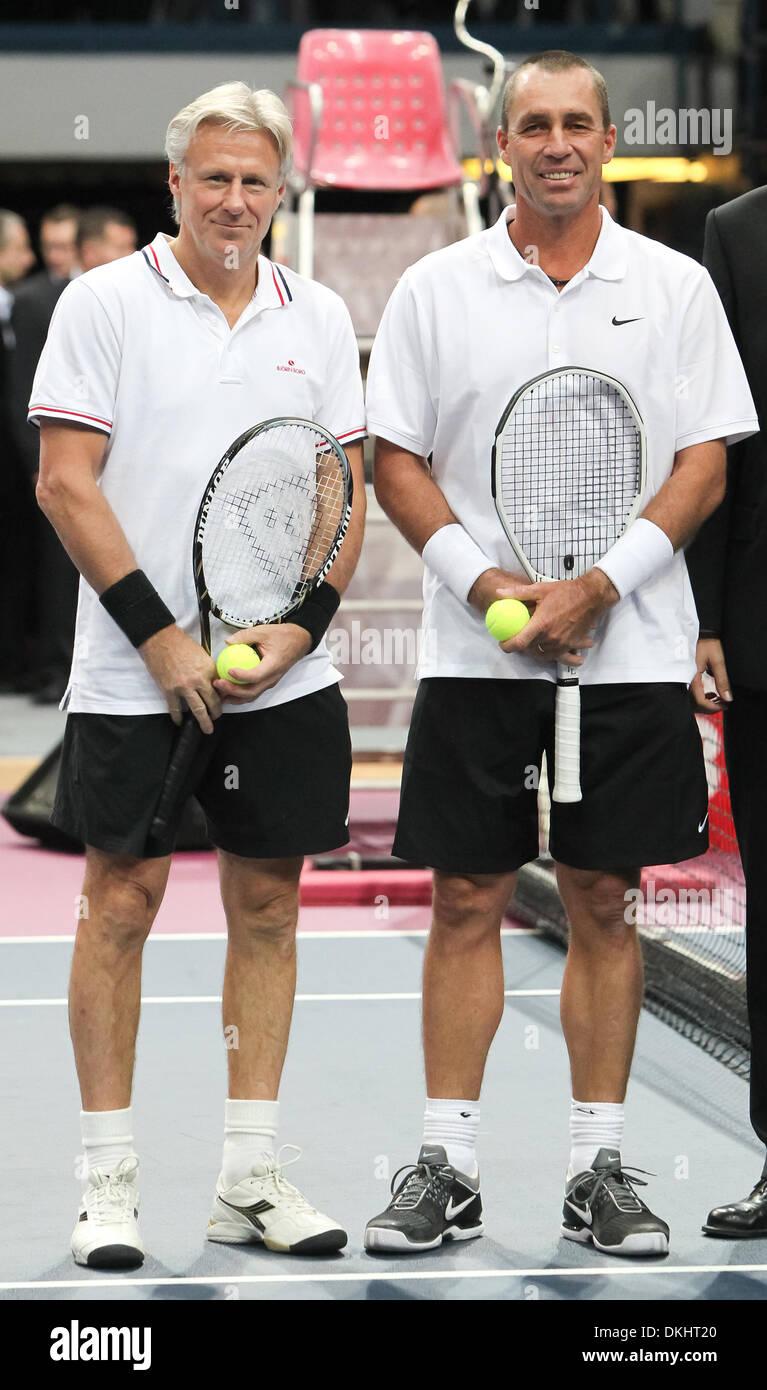 Czech born tennis legend Ivan Lendl left wins an exhibition