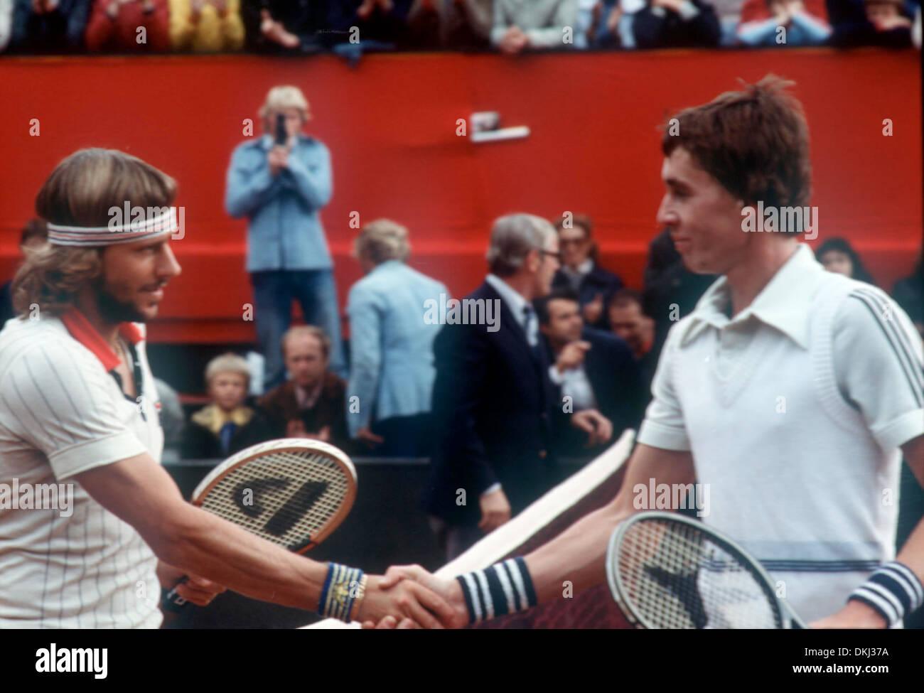 Bjorn Borg left SWE and Ivan Lendl CZE Davis Cup match Stock