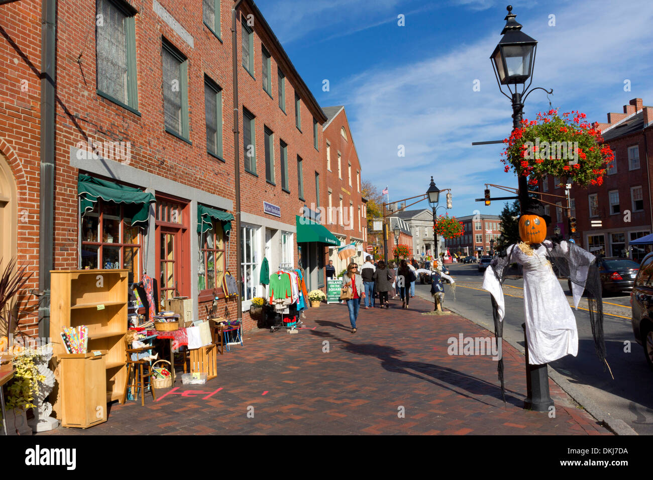 shops and halloween decorations in downtown newburyport essex county massachusetts usa