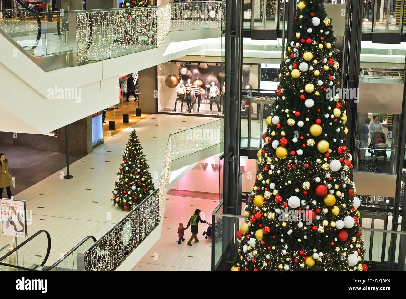 shopping mall center during christmas time boulevard berlin stock photo royalty free image. Black Bedroom Furniture Sets. Home Design Ideas