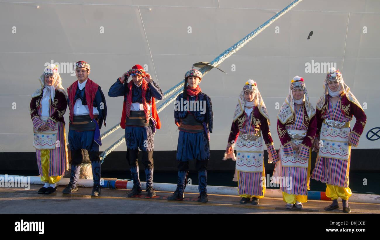 Turkish Children In Traditional Costume Waiting To Greet - Cruise ship costume