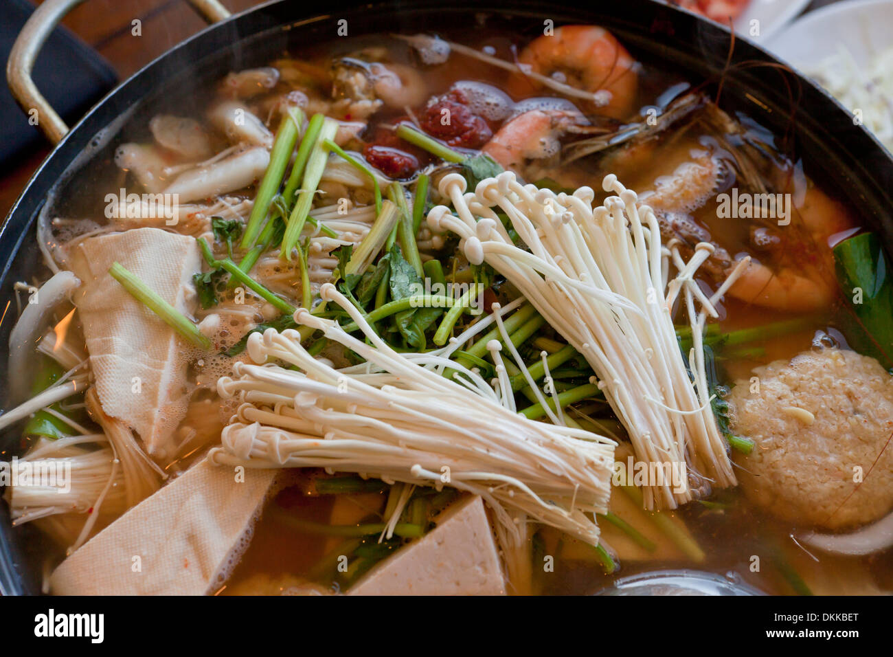 Spicy Seafood Soup Dish Haemultang On Table South Korea Stock Image