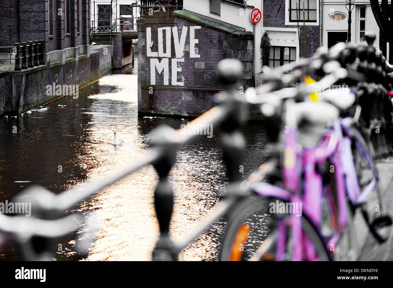 Graffiti wall amsterdam - Love Me Graffiti On The Wall Of A Waterway Canal In Amsterdam Stock Image