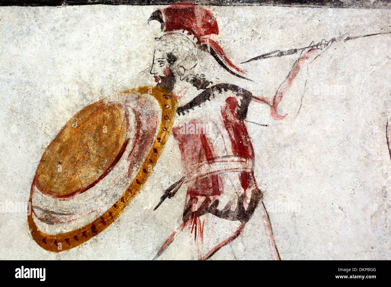 Ancient greek warrior mural painting archeological for Ancient greek mural