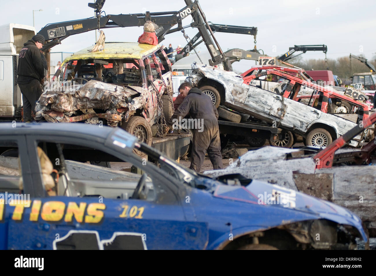 stock photo banger racing pit pits stock car cars old repairing mechanic mechanics fix fixing racing stripped out event events race races ra