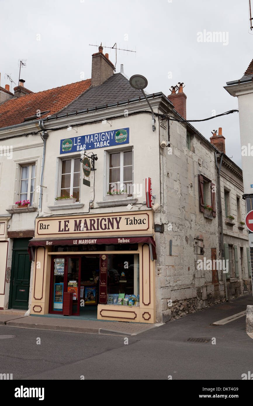 le marigny bar and tabac in bl r in the loire valley france stock photo royalty free image. Black Bedroom Furniture Sets. Home Design Ideas