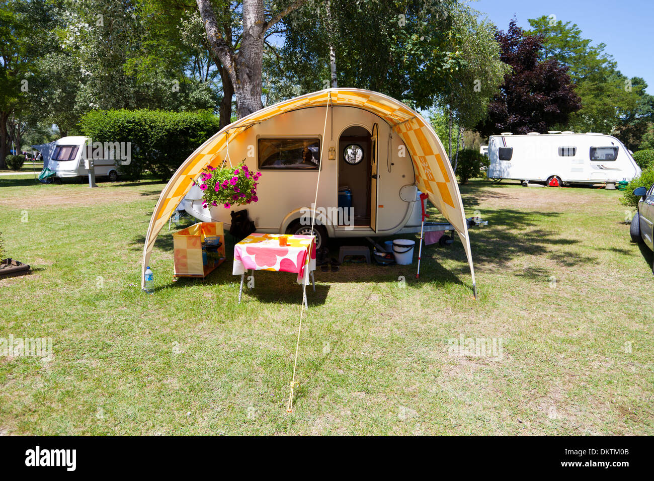 Small TAB Camping Trailer Caravan With Awning At Le Moulin Fort Campsite In The Loire Valley