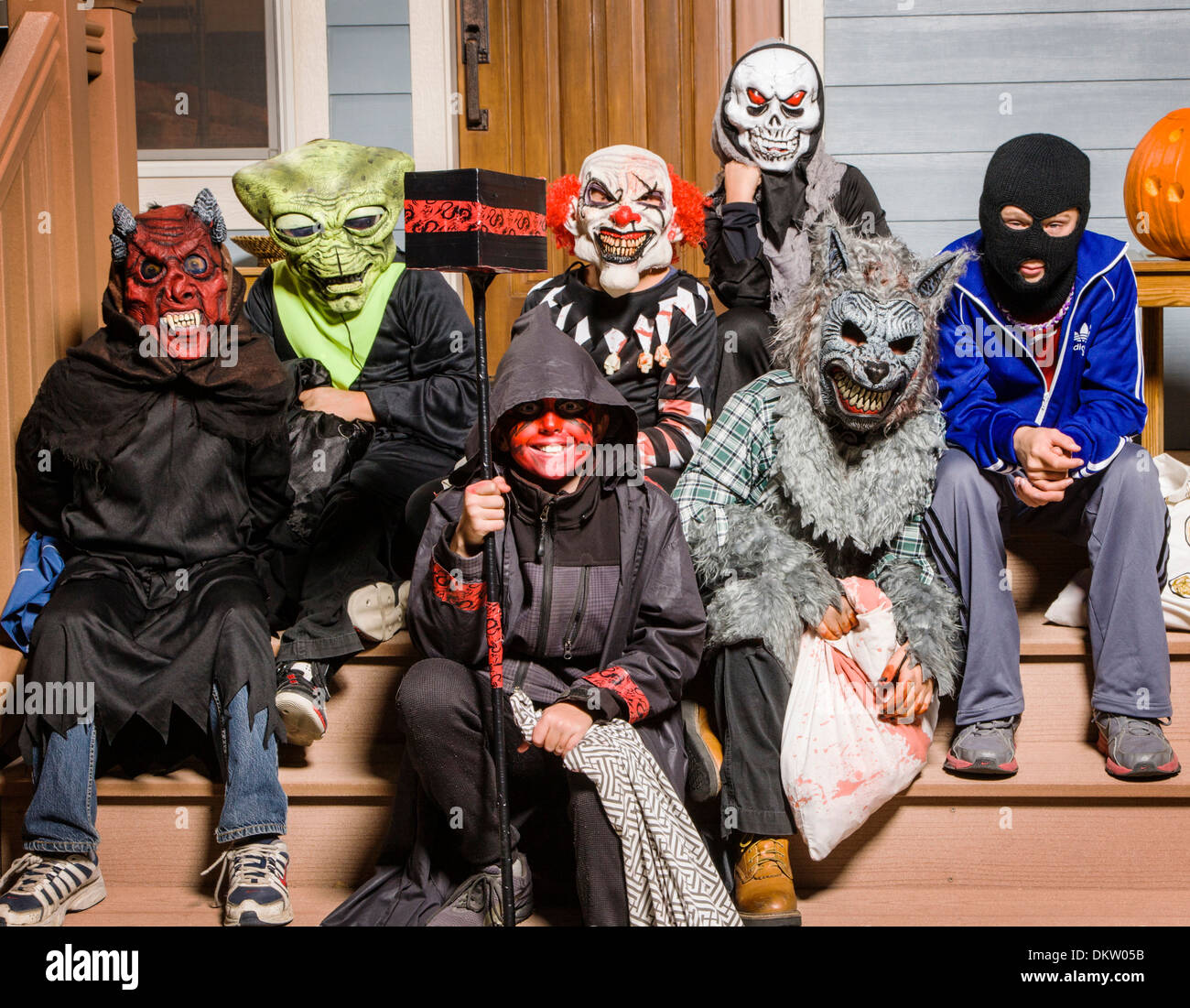 stock photo young children dressed in costume for halloween trick or treating - Trick R Treat Halloween Costume