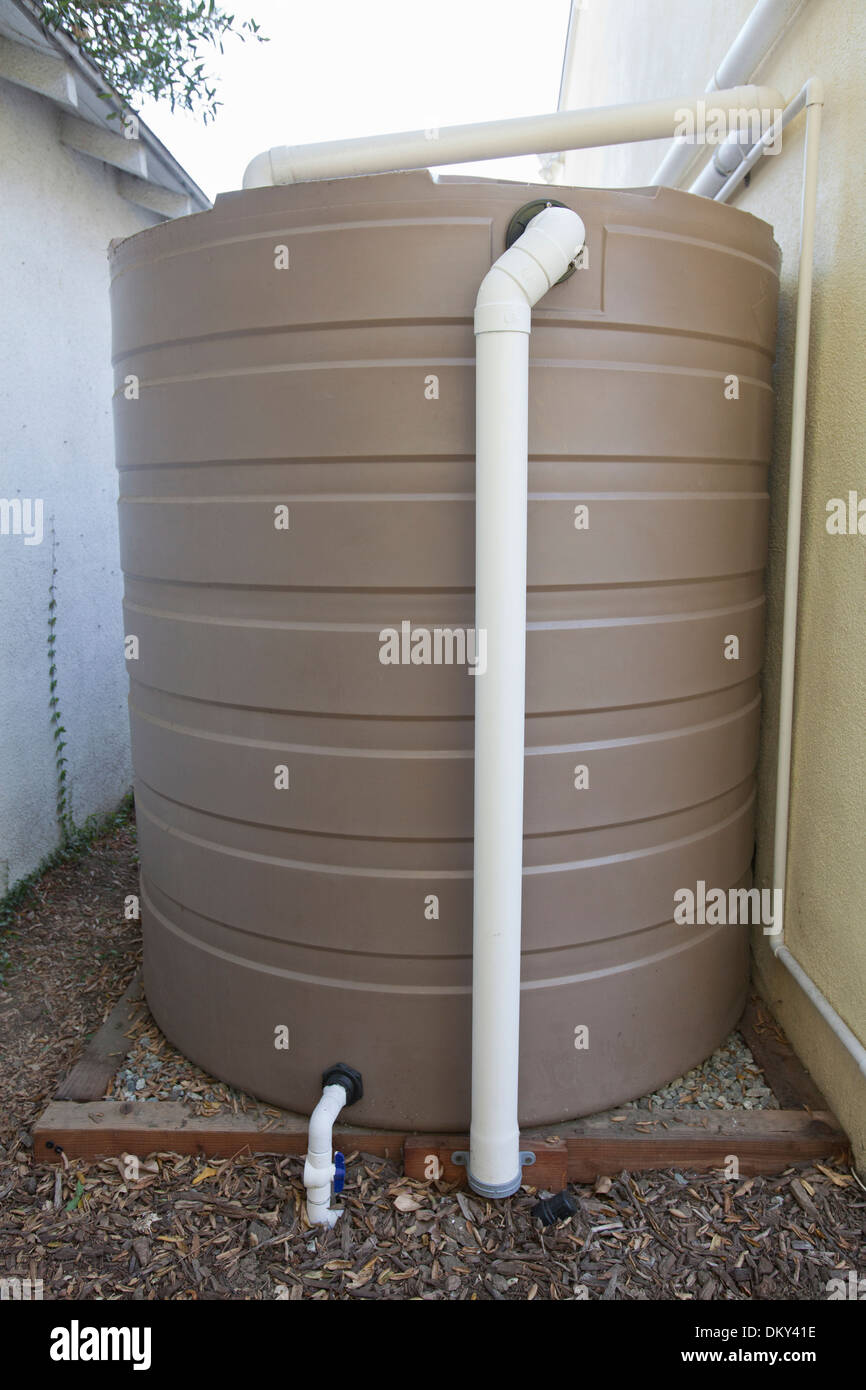 Rainwater harvesting system on a green home that is off for Rainwater harvesting at home