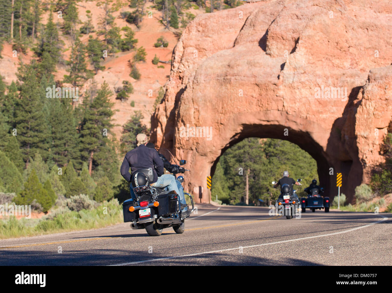harley davidson on road through red rock canyon, bryce, utah, usa