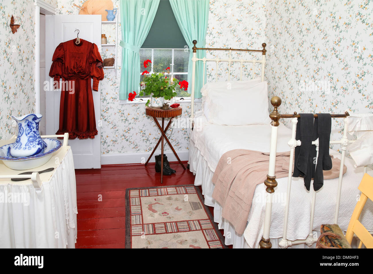 anne's bedroom in green gables house on prince edward island. made