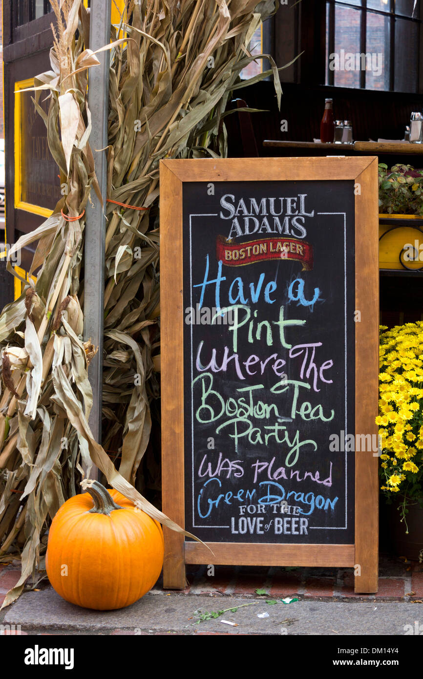 Sign and Halloween decorations outside the pub in Boston Stock ...