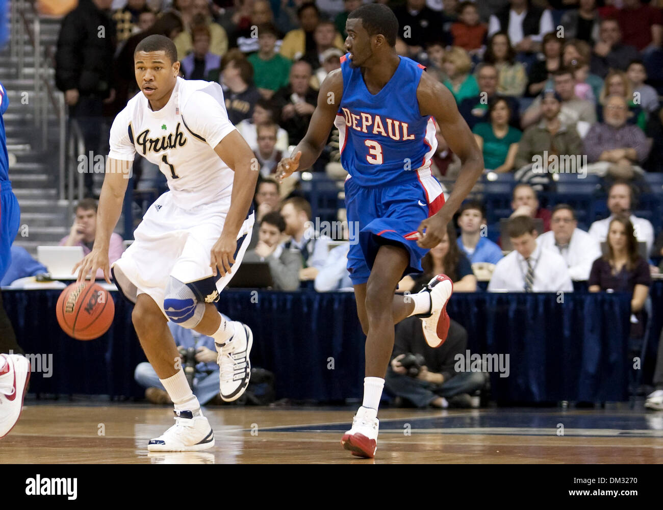 DePaul Forward Devin Hill 3 and Notre Dame Forward Tyrone Nash
