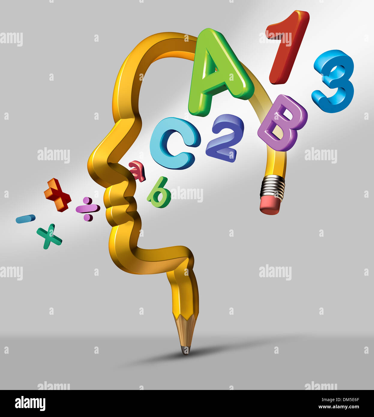 Math symbols stock photos math symbols stock images alamy learning and education school concept with a yellow pencil in the shape of a human head buycottarizona