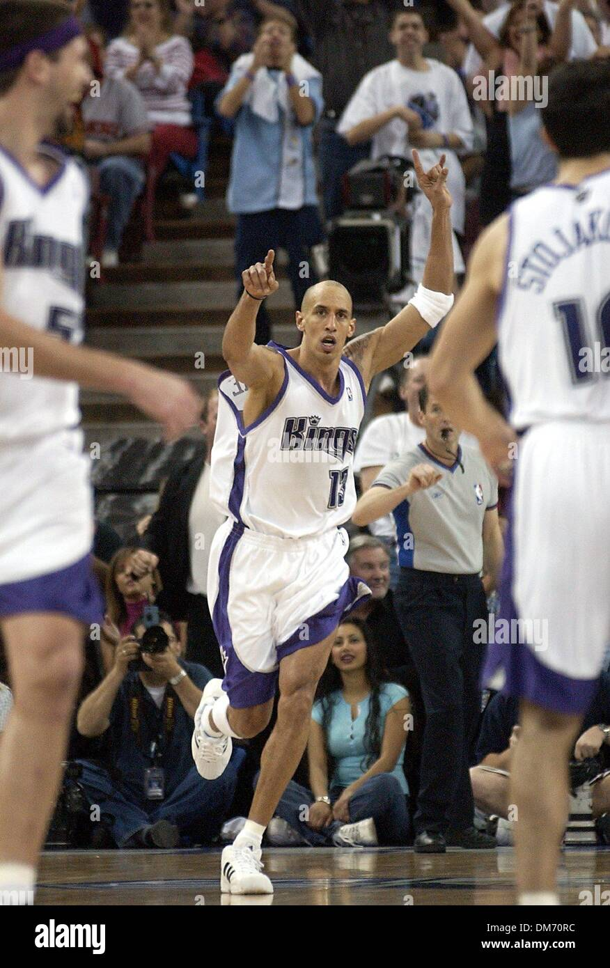 Sacramento Kings Doug Christie jubes after scoring late in the 4th
