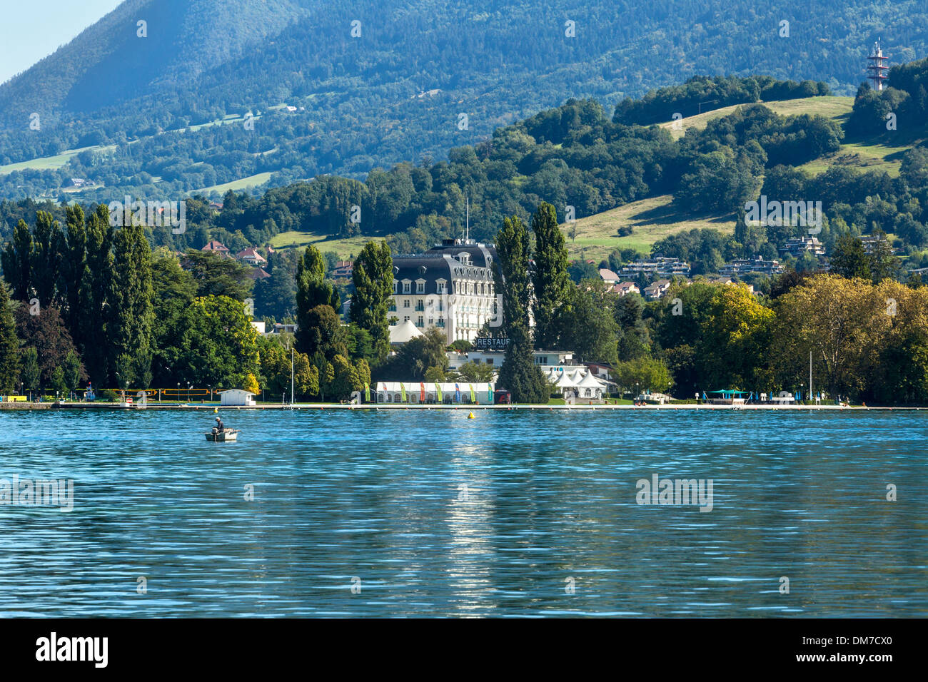 View Across The Lake And L 39 Imperial Palace Hotel Lake Annecy Stock Photo Royalty Free Image