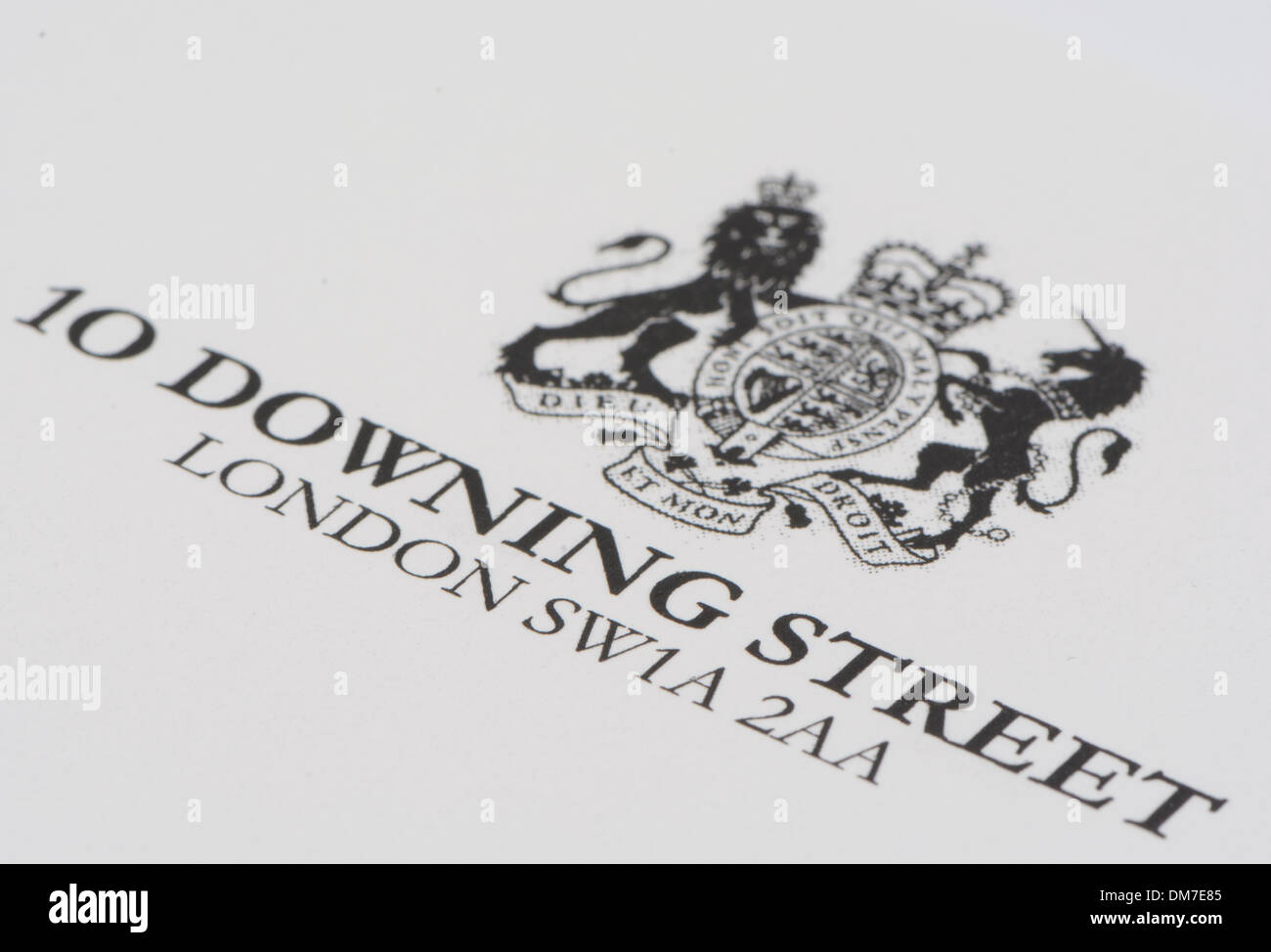 10 downing street letterheaded paper stock photo  royalty