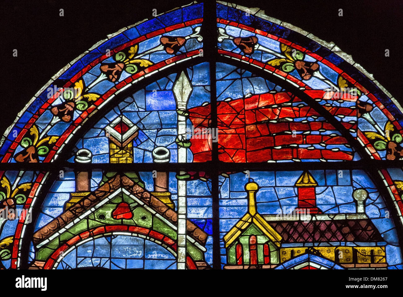 Bien connu STAINED-GLASS WINDOW OF THE ORIFLAMME OF SAINT-DENIS, ONE OF THE  YF06