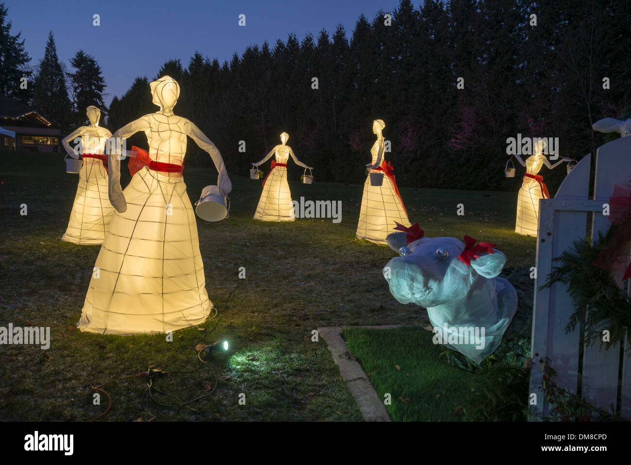 8 Maids A Milking Christmas Display Burnaby Village Museum British Columbia