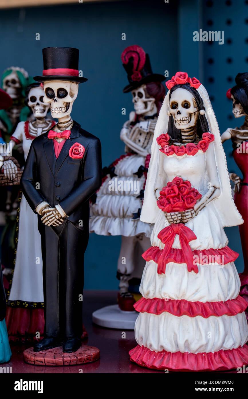 Ceramic bride groom skeleton figurines Stock Photo Royalty Free