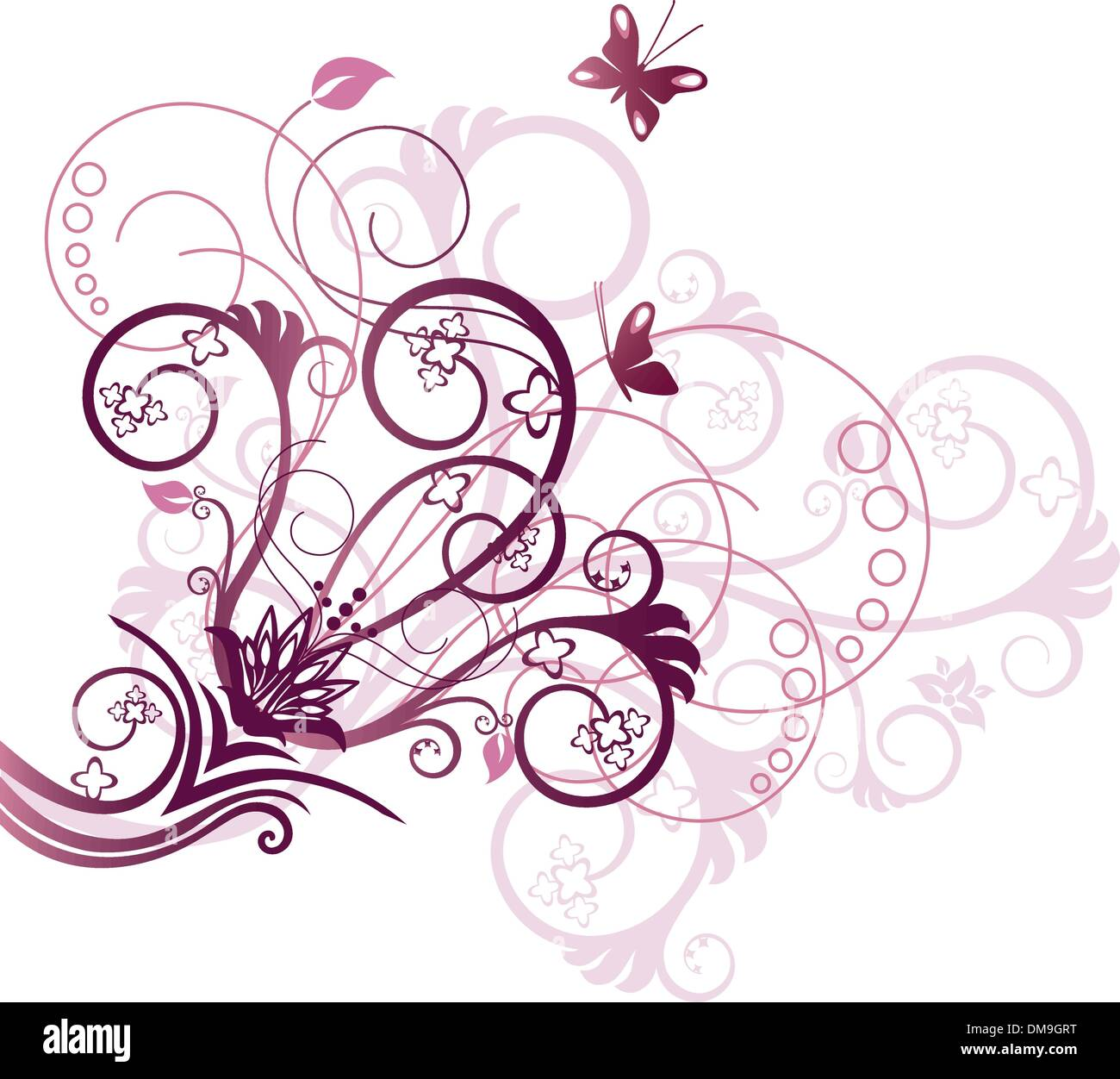 purple and pink floral corner design element stock vector
