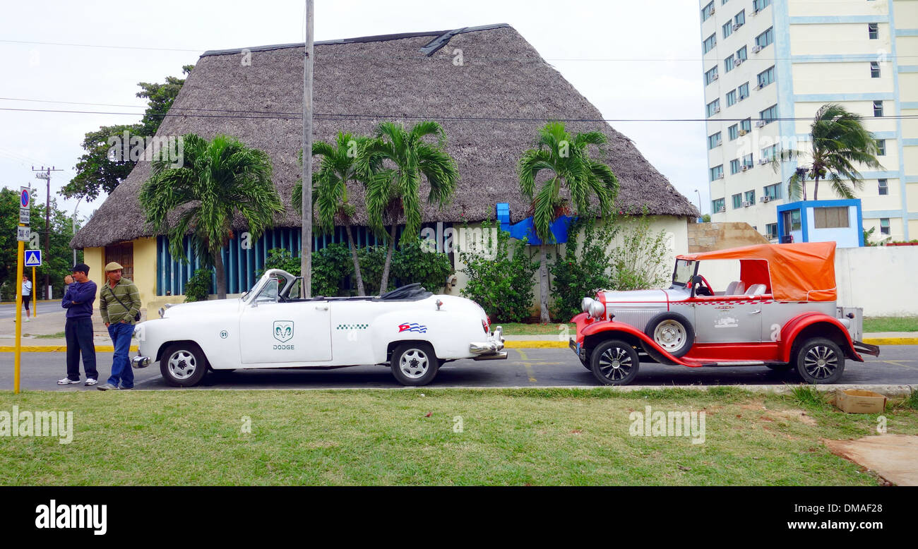 Old cars for rent in Varadero, Cuba Stock Photo, Royalty Free Image ...